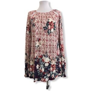 Lucky Brand 2X Knit Blouse Floral L/S Cutout Neck